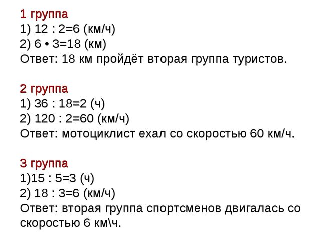 1 группа 1) 12 : 2=6 (км/ч) 2) 6 • 3=18 (км) Ответ: 18 км пройдёт вторая груп...