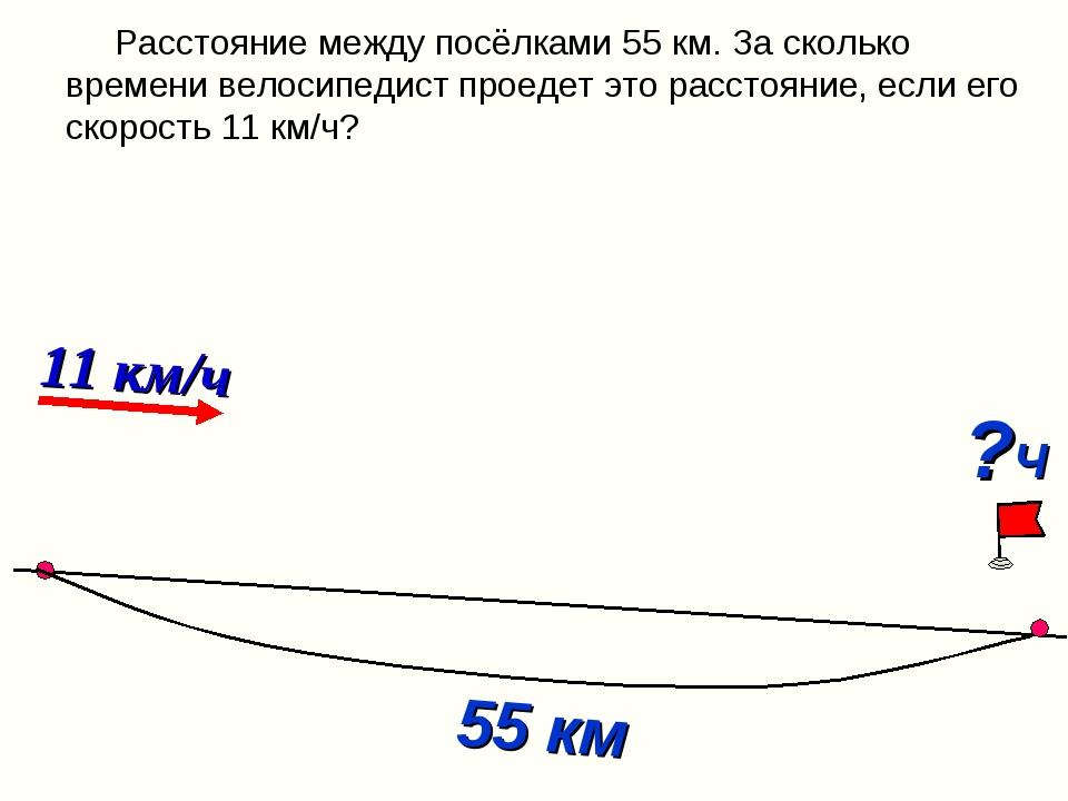 Расстояние между посёлками 55 км. За сколько времени велосипедист проедет эт...
