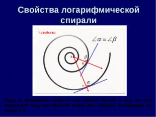 Свойства логарифмической спирали Одно из важнейших свойств этой кривой состои
