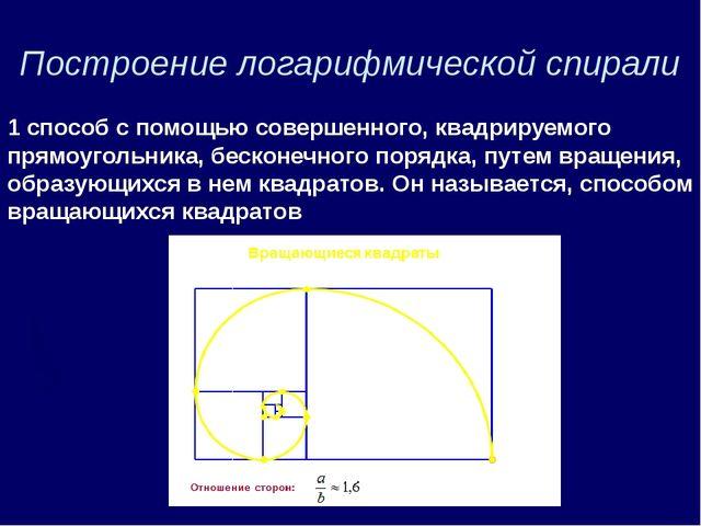 Построение логарифмической спирали 1 способ с помощью совершенного, квадрируе...