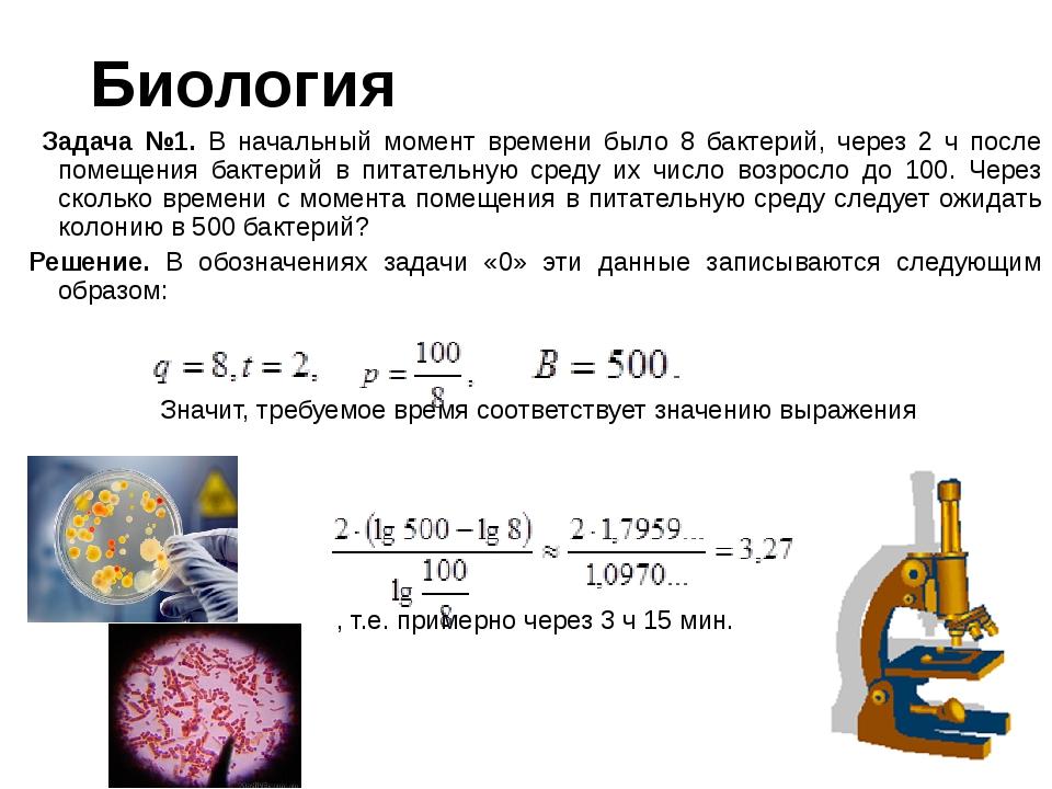Биология Задача №1. В начальный момент времени было 8 бактерий, через 2 ч пос...