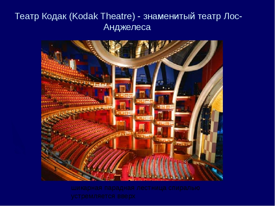 Театр Кодак (Kodak Theatre) - знаменитый театр Лос-Анджелеса шикарная парадна...