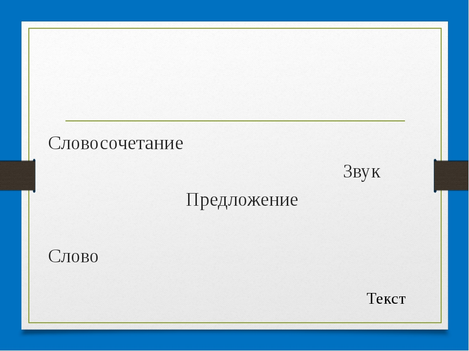 Словосочетание Звук Предложение Слово Текст