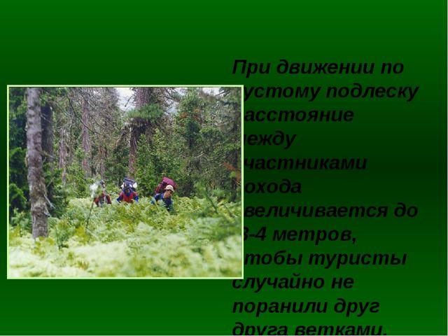 При движении по густому подлеску расстояние между участниками похода увеличи...