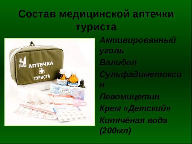 Состав медицинской аптечки туриста Активированный уголь Валидол Сульфадиметок...