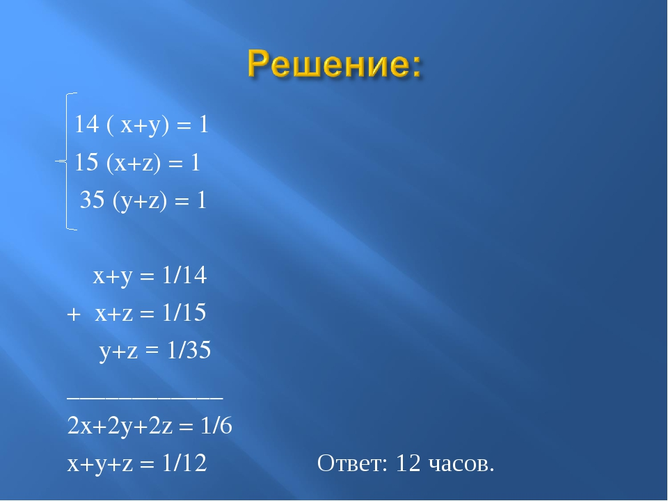 14 ( x+y) = 1 15 (x+z) = 1 35 (y+z) = 1 x+y = 1/14 + x+z = 1/15 y+z = 1/35 _...