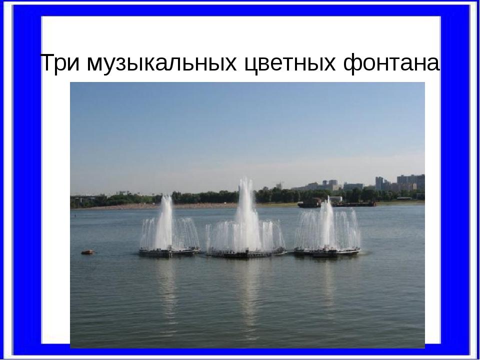 Три музыкальных цветных фонтана прямо на воде.
