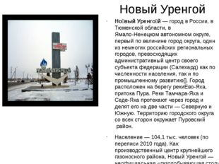 Новый Уренгой Но́вый Уренго́й— город вРоссии, вТюменской области, вЯмало-