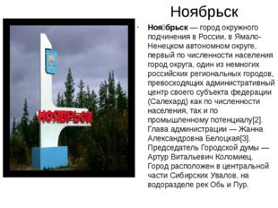 Ноябрьск Ноя́брьск— город окружного подчинения в России, в Ямало-Ненецком ав