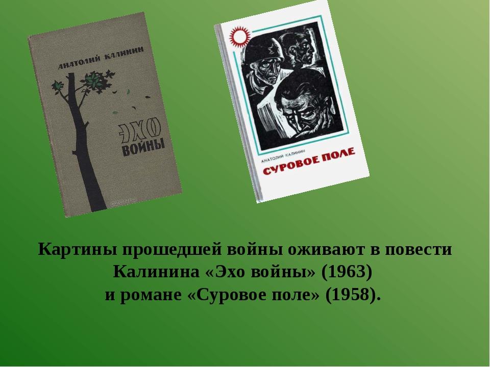 Картины прошедшей войны оживают в повести Калинина «Эхо войны» (1963) и роман...