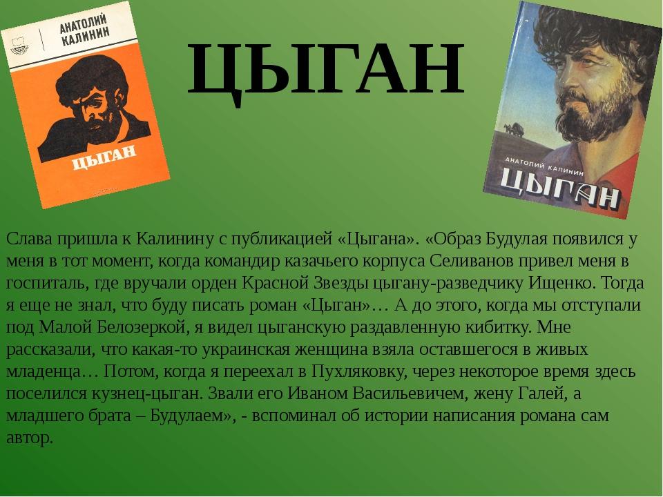 Слава пришла к Калинину с публикацией «Цыгана». «Образ Будулая появился у мен...
