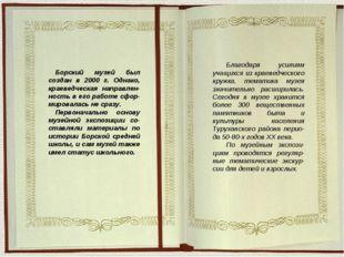 Борский музей был создан в 2000 г. Однако, краеведческая направлен-ность в ег