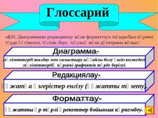 Глоссарий «§30. Диаграмманы редакциялау және форматтау» тақырыбын көрнекі тү