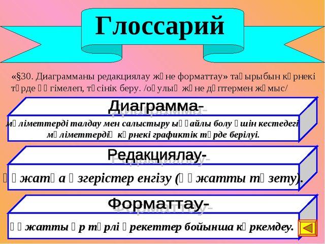 Глоссарий «§30. Диаграмманы редакциялау және форматтау» тақырыбын көрнекі тү...