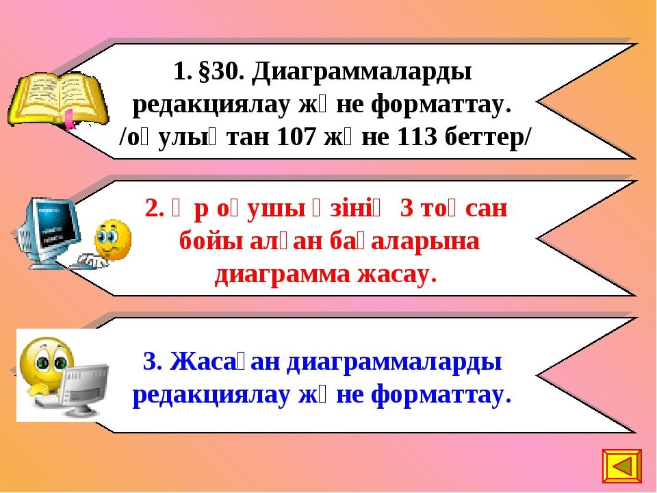 §30. Диаграммаларды редакциялау және форматтау. /оқулықтан 107 және 113 бетте...