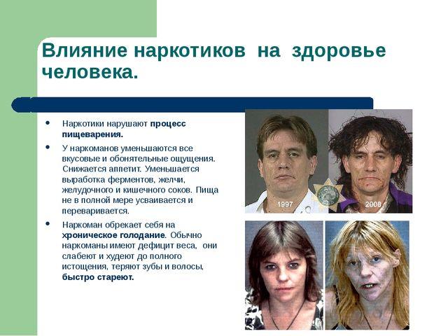 Влияние наркотиков на здоровье человека. Наркотики нарушают процесс пищеварен...