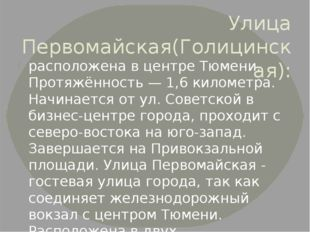 Улица Первомайская(Голицинская): расположена в центреТюмени. Протяжённость —