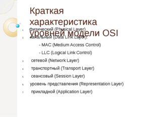 Краткая характеристика уровней модели OSI физический (Physical Layer) канальн