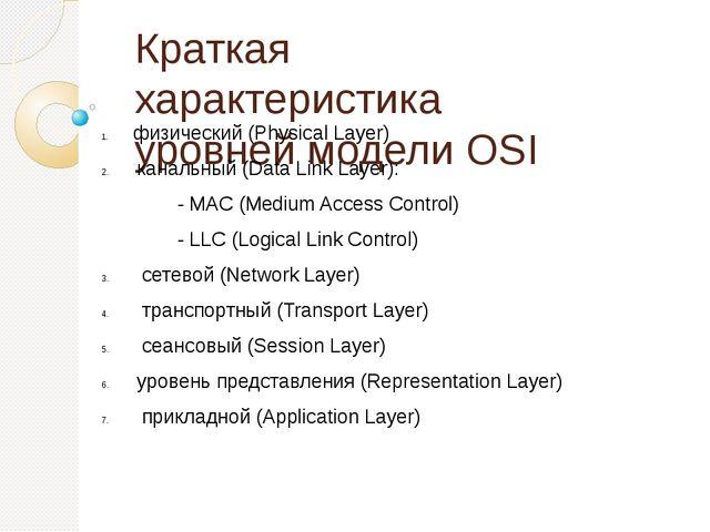 Краткая характеристика уровней модели OSI физический (Physical Layer) канальн...