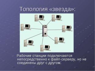 Топология «звезда»: Рабочие станции подключаются непосредственно к файл-серве