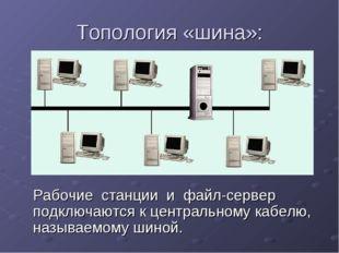 Топология «шина»: Рабочие станции и файл-сервер подключаются к центральному к