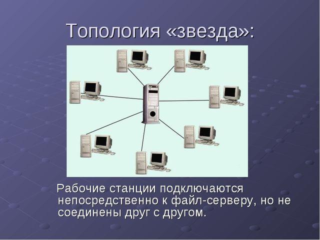 Топология «звезда»: Рабочие станции подключаются непосредственно к файл-серве...
