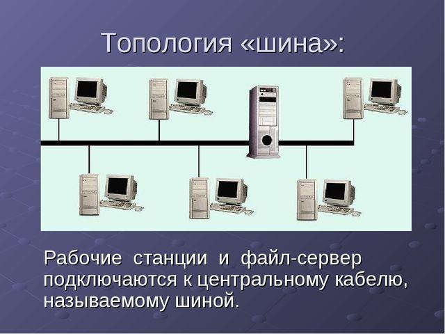 Топология «шина»: Рабочие станции и файл-сервер подключаются к центральному к...