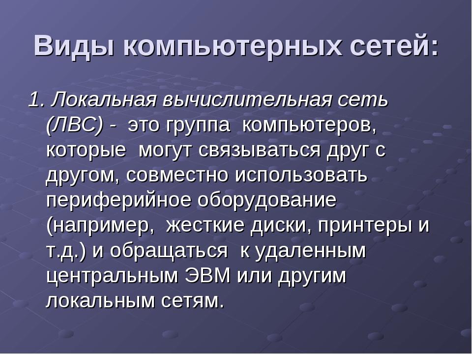 Виды компьютерных сетей: 1. Локальная вычислительная сеть (ЛВС) - это группа...