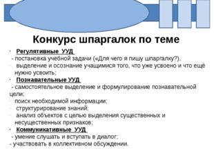 Конкурс шпаргалок по теме Регулятивные УУД - постановка учебной задачи («Для