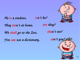 He is a student, They aren't at home, We shall go to the Zoo, You can use a d