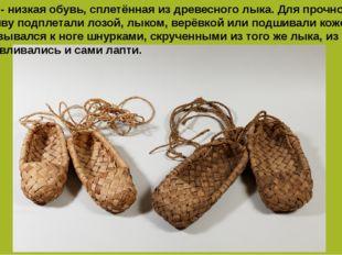 Лапти - низкая обувь, сплетённая из древесного лыка. Для прочности подошву по