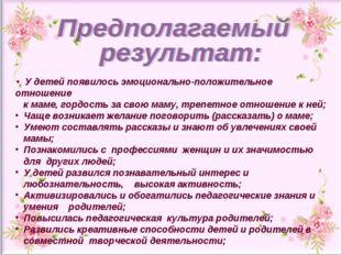 У детей появилось эмоционально-положительное отношение к маме, гордость за с