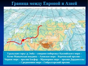 Европа Азия Уральские горы- р.Эмба – северное побережье Каспийского моря – Ку