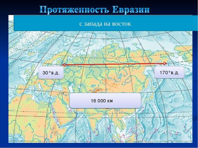 с запада на восток 30°в.д. 170°в.д. 16 000 км