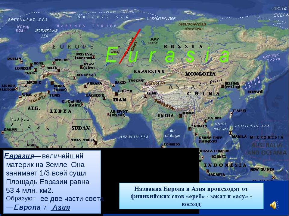 Названия Европа и Азия происходят от финикийских слов «ереб» - закат и «асу»...