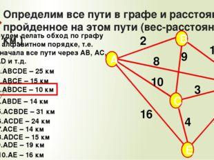 Определим все пути в графе и расстояние, пройденное на этом пути (вес-расстоя
