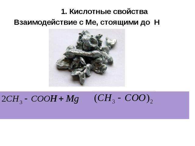 Взаимодействие с Ме, стоящими до Н Ацетат Mg 2 + 1. Кислотные свойства