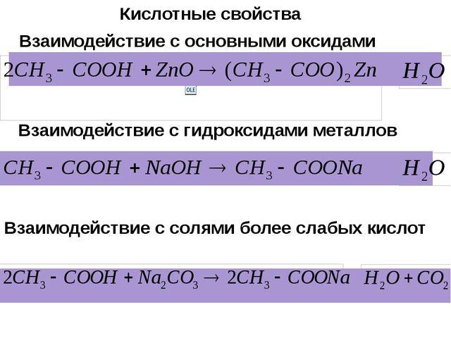 Взаимодействие с основными оксидами Взаимодействие с гидроксидами металлов Вз...