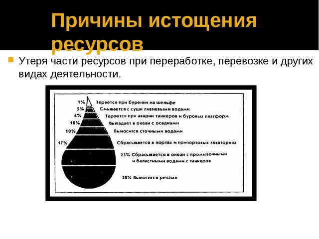 Причины истощения ресурсов Утеря части ресурсов при переработке, перево...