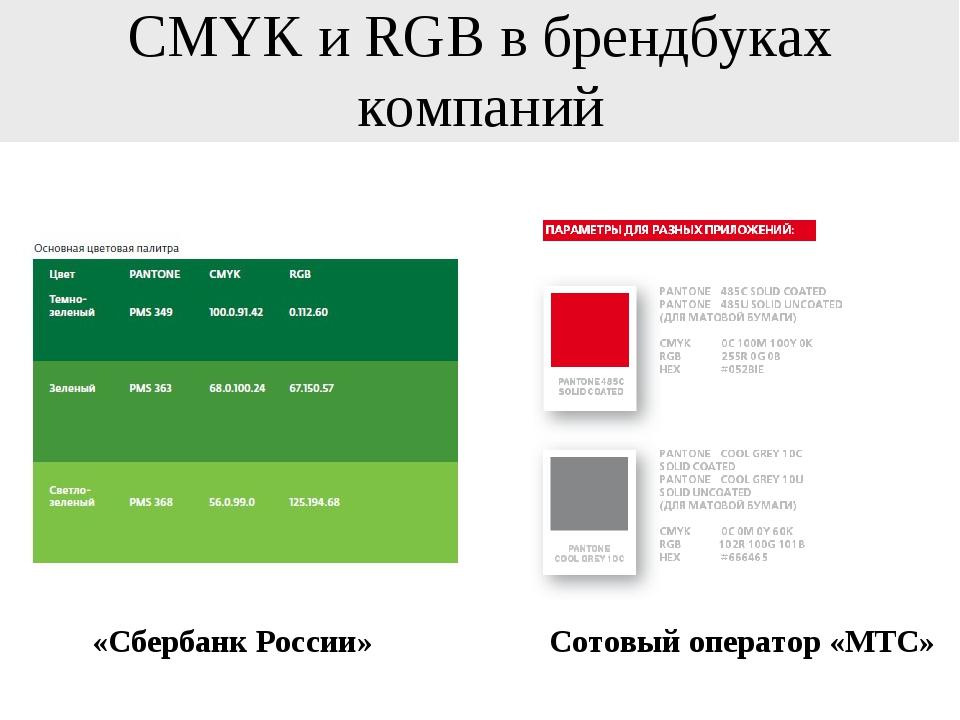 CMYK и RGB в брендбуках компаний «Сбербанк России» Сотовый оператор «МТС»