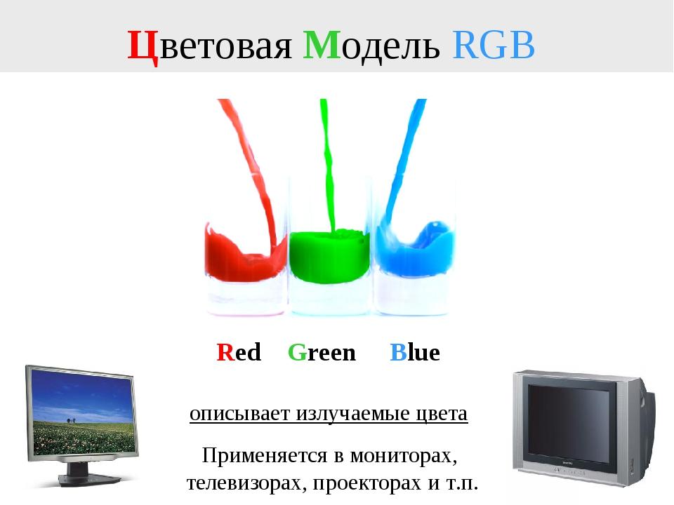 Цветовая Модель RGB описывает излучаемые цвета Red Green Blue Применяется в м...