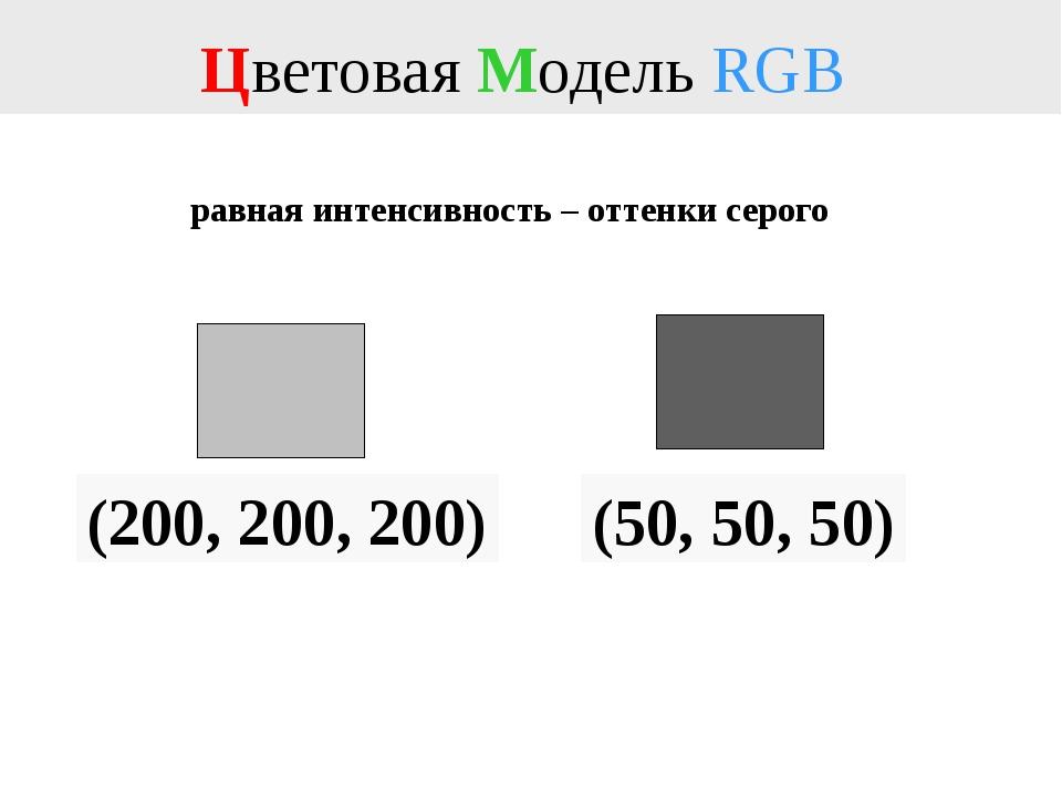 Цветовая Модель RGB (200, 200, 200) равная интенсивность – оттенки серого (50...