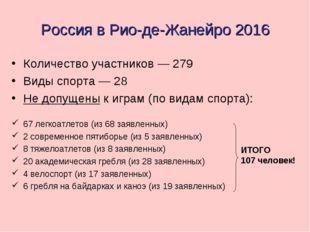 Россия в Рио-де-Жанейро 2016 Количество участников — 279 Виды спорта — 28 Не