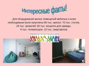 Для оборудования жилых помещений мебелью и всем необходимым были закуплены 80