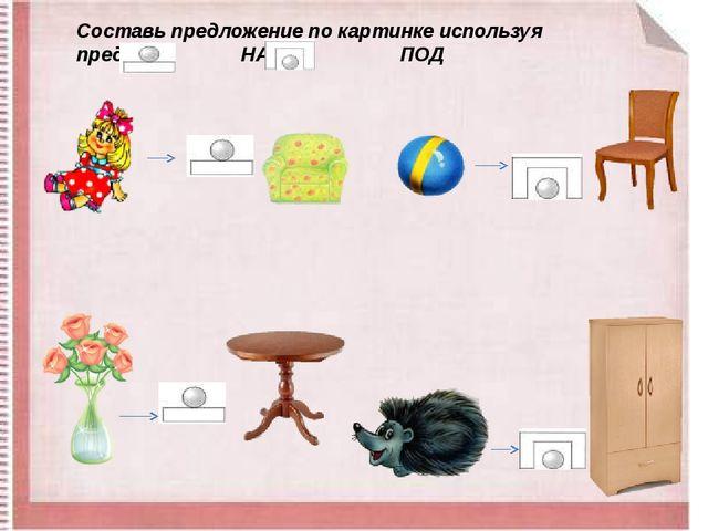 Составь предложение по картинке используя предлоги НА ПОД