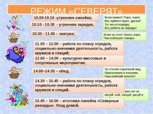 РЕЖИМ «СЕВЕРЯТ» 10.10 - 10.30 - утренняя зарядка; Всем привет! Пора, пора! Ва