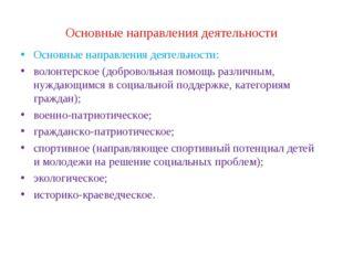 Основные направления деятельности Основные направления деятельности: волонтер