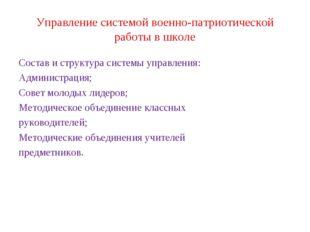 Управление системой военно-патриотической работы в школе Состав и структура с
