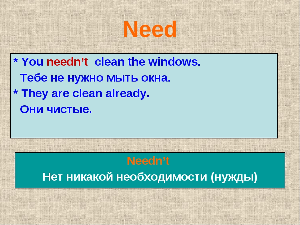 Need * You needn't clean the windows. Тебе не нужно мыть окна. * They are cle...