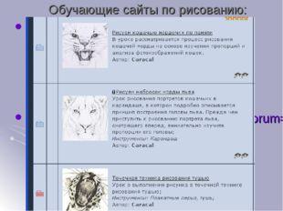 Обучающие сайты по рисованию: http://risunok.love2learn.ru/ http://arttower.